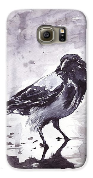 Pigeon Galaxy S6 Case - Crow Watercolor by Suzann's Art