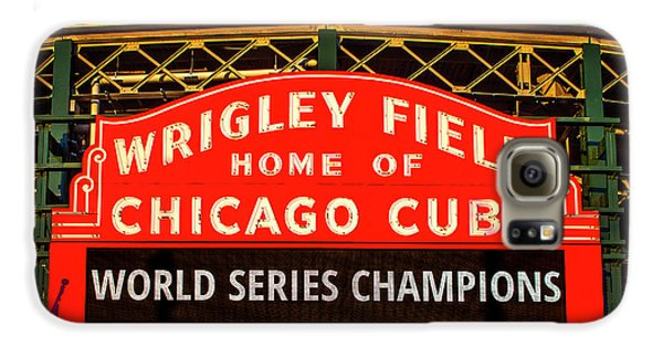 Wrigley Field Galaxy S6 Case - Cubs Win World Series by Andrew Soundarajan