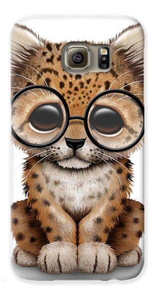 Cute Baby Leopard Cub Wearing Glasses Galaxy S6 Case by Jeff Bartels