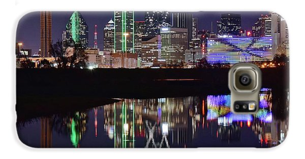 Dallas Reflecting At Night Galaxy S6 Case by Frozen in Time Fine Art Photography