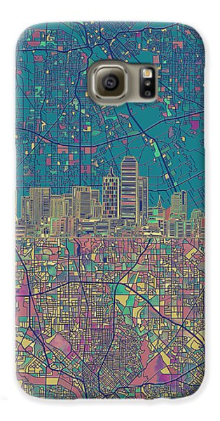 Dallas Skyline Map Green Galaxy S6 Case by Bekim Art