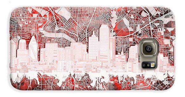 Dallas Skyline Map Red 2 Galaxy S6 Case