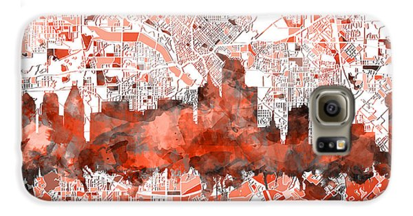 Dallas Skyline Map Red Galaxy S6 Case