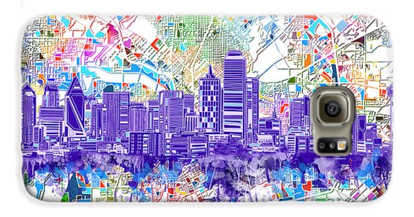 Dallas Skyline Map White 3 Galaxy S6 Case by Bekim Art
