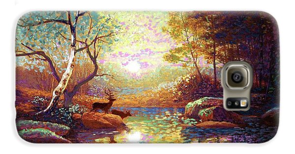 Impressionism Galaxy S6 Case - Deer And Dancing Shadows by Jane Small