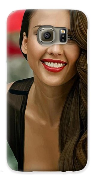Digital Painting Of Jessica Alba Galaxy S6 Case by Frohlich Regian