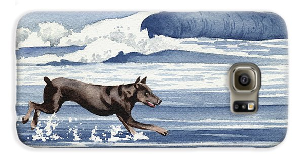 Doberman At The Beach  Galaxy S6 Case by David Rogers