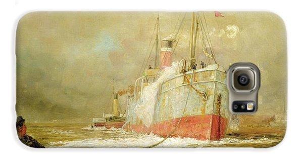 Boat Galaxy S6 Case - Docking A Cargo Ship by William Lionel Wyllie