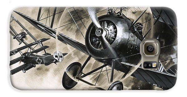 Dog Fight Between British Biplanes And A German Triplane Galaxy S6 Case by Wilf Hardy
