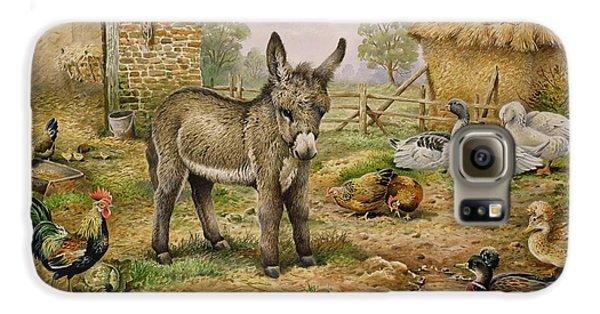 Donkey And Farmyard Fowl  Galaxy S6 Case by Carl Donner