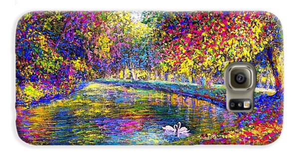 Drifting Beauties, Swans, Colorful Modern Impressionism Galaxy S6 Case