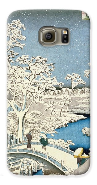 Drum Galaxy S6 Case - Drum Bridge And Setting Sun Hill At Meguro by Hiroshige