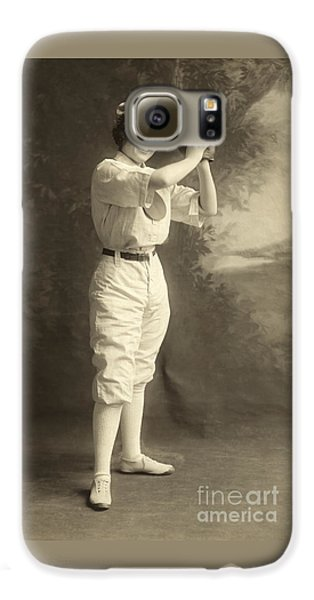 Baseball Players Galaxy S6 Case - Early Portrait Of A Woman Baseball Player by American School