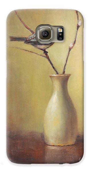 Chickadee Galaxy S6 Case - Early Spring Still Life by Lori McNee