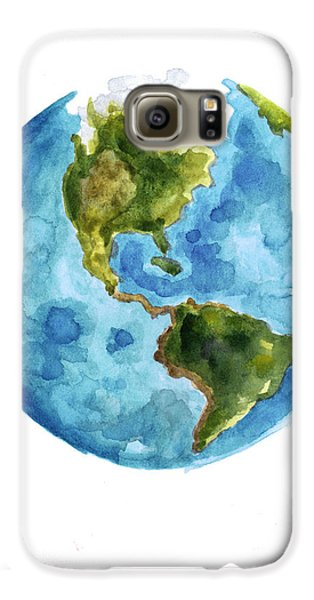 Earth America Watercolor Poster Galaxy S6 Case by Joanna Szmerdt