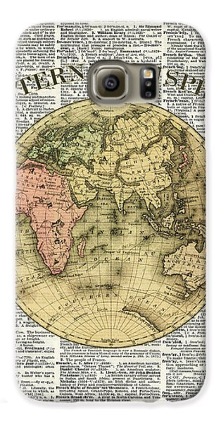 Eastern Hemisphere Earth Map Over Dictionary Page Galaxy S6 Case by Jacob Kuch