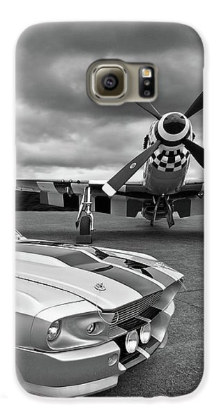 Airplane Galaxy S6 Case - Eleanor Mustang With P51 Black And White by Gill Billington