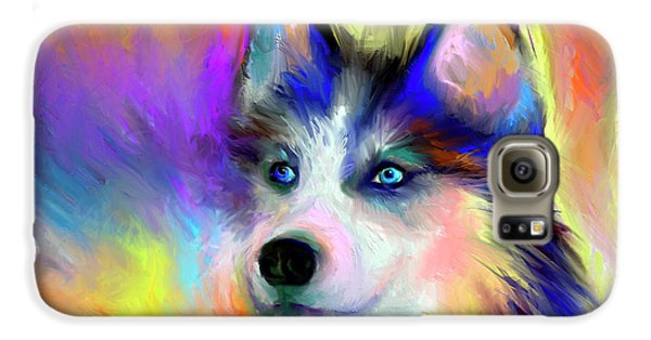 Electric Siberian Husky Dog Painting Galaxy S6 Case