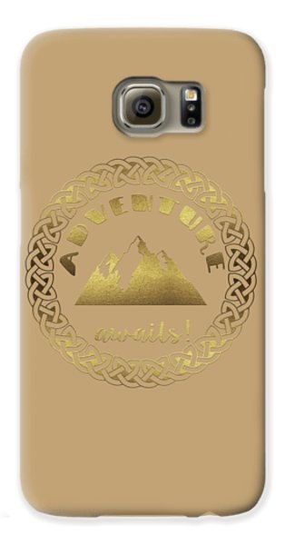 Galaxy S6 Case featuring the digital art Elegant Gold Foil Adventure Awaits Typography Celtic Knot by Georgeta Blanaru