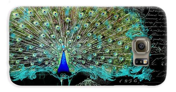Elegant Peacock W Vintage Scrolls 3 Galaxy S6 Case by Audrey Jeanne Roberts