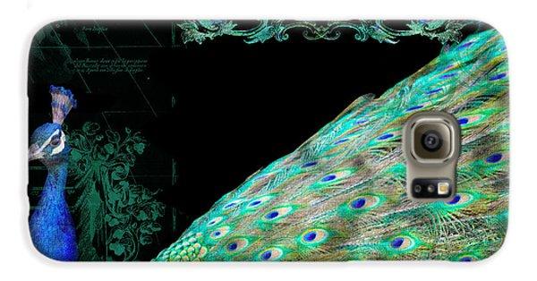 Elegant Peacock W Vintage Scrolls Typography 4 Galaxy S6 Case