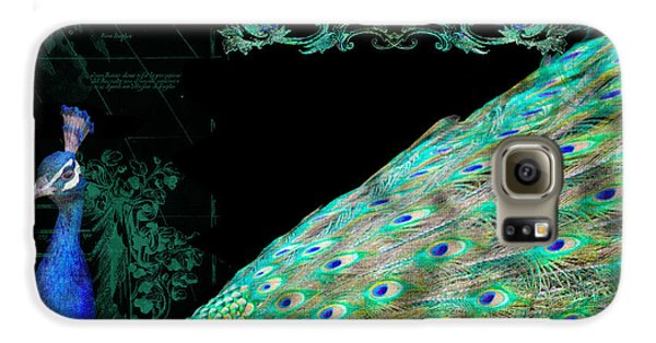 Elegant Peacock W Vintage Scrolls Typography 4 Galaxy S6 Case by Audrey Jeanne Roberts