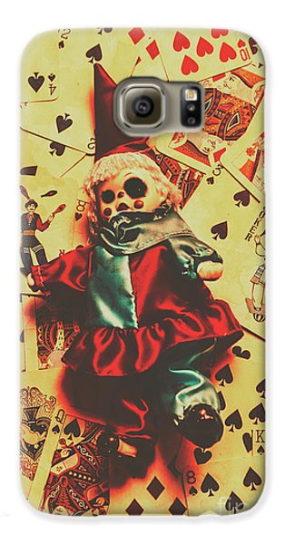 Evil Clown Doll On Playing Cards Galaxy S6 Case