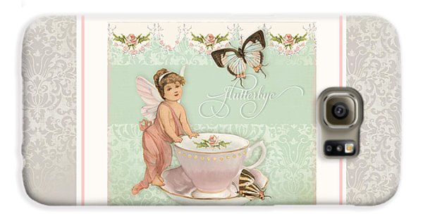 Fairy Teacups - Flutterbye Butterflies And English Rose Damask Galaxy S6 Case