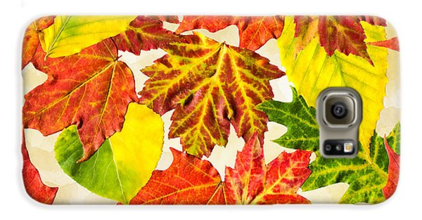 Galaxy S6 Case featuring the mixed media Fall Leaves Pattern by Christina Rollo