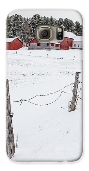 Farm Buildings In Winter Galaxy S6 Case by Edward Fielding
