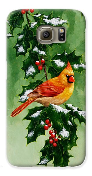 Female Cardinal And Holly Phone Case Galaxy S6 Case by Crista Forest