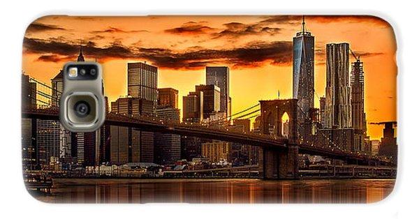 New York City Skyline Galaxy S6 Case - Fiery Sunset Over Manhattan  by Az Jackson