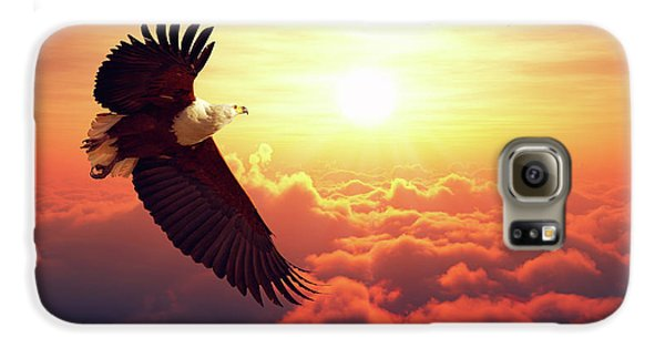 Eagle Galaxy S6 Case - Fish Eagle Flying Above Clouds by Johan Swanepoel