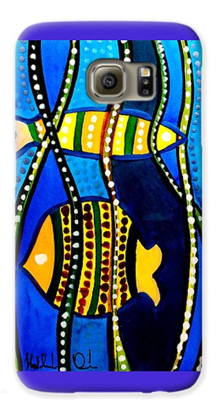 Galaxy S6 Case featuring the painting Fishes With Seaweed - Art By Dora Hathazi Mendes by Dora Hathazi Mendes