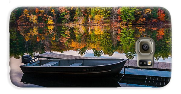 Galaxy S6 Case featuring the photograph Fishing Boat On Mirror Lake by Rikk Flohr