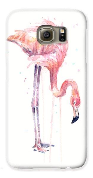 Flamingo Illustration Watercolor - Facing Left Galaxy S6 Case by Olga Shvartsur