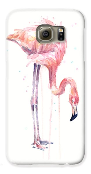 Flamingo Watercolor - Facing Left Galaxy S6 Case by Olga Shvartsur