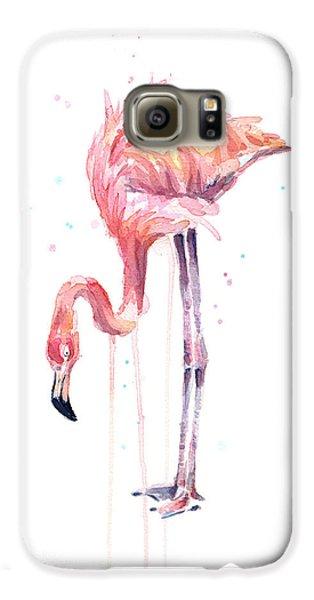 Flamingo Watercolor - Facing Left Galaxy S6 Case