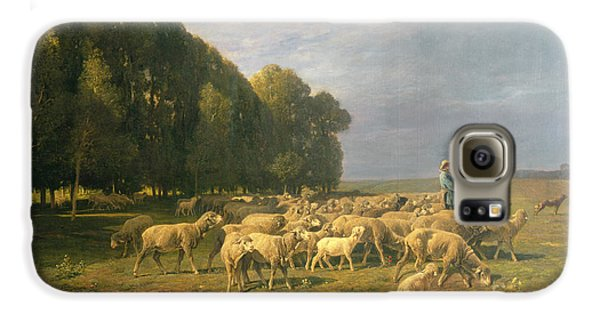 Flock Of Sheep In A Landscape Galaxy S6 Case