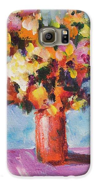 Flower Bouquet In Red Vase Galaxy S6 Case by Yulia Kazansky