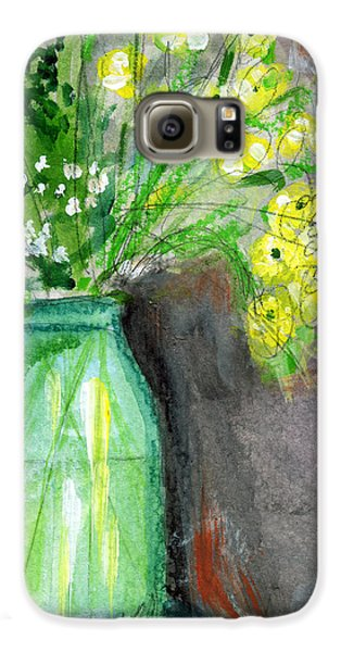 Daisy Galaxy S6 Case - Flowers In A Green Jar- Art By Linda Woods by Linda Woods