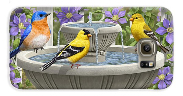 Fountain Festivities - Birds And Birdbath Painting Galaxy S6 Case by Crista Forest