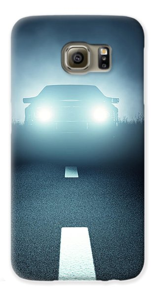 Automobile Galaxy S6 Case - Front Car Lights At Night On Open Road by Johan Swanepoel