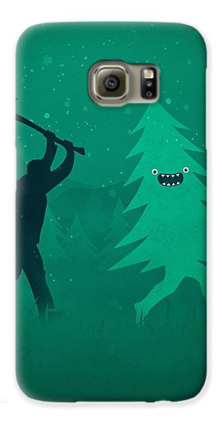 Galaxy S6 Case - Funny Cartoon Christmas Tree Is Chased By Lumberjack Run Forrest Run by Philipp Rietz