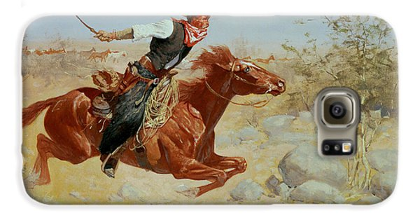 Horse Galaxy S6 Case - Galloping Horseman by Frederic Remington