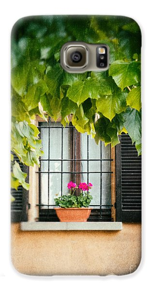 Galaxy S6 Case featuring the photograph Geraniums On Windowsill by Silvia Ganora