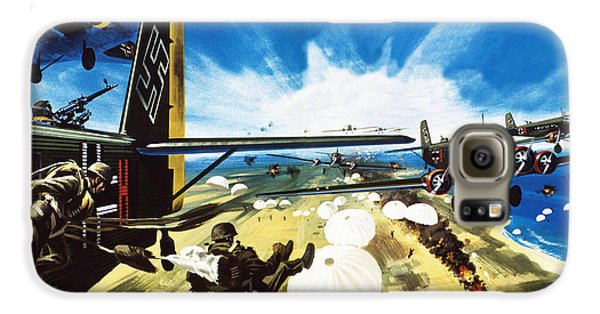 German Paratroopers Landing On Crete During World War Two Galaxy S6 Case by Wilf Hardy