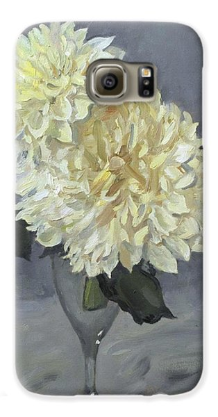 Giant White Dahlias In Wine Glass Galaxy S6 Case
