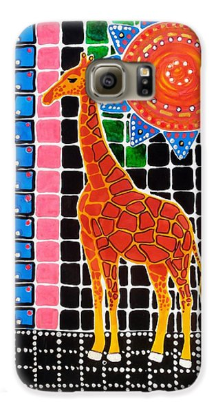 Galaxy S6 Case featuring the painting Giraffe In The Bathroom - Art By Dora Hathazi Mendes by Dora Hathazi Mendes