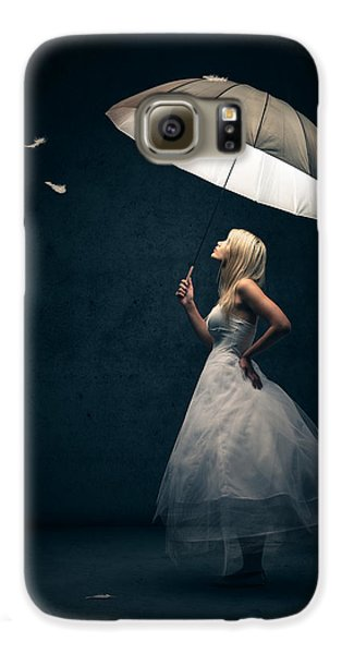 Magician Galaxy S6 Case - Girl With Umbrella And Falling Feathers by Johan Swanepoel